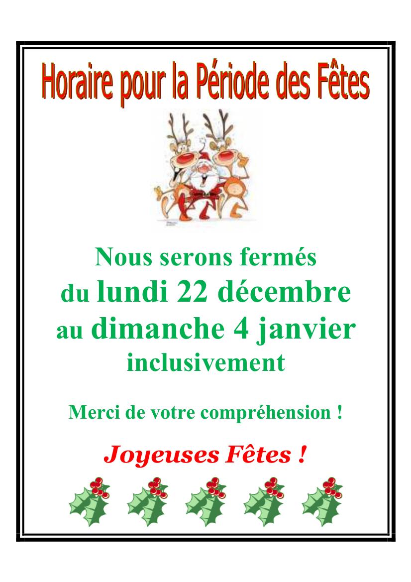 Horaire des fêtes Noël 2014